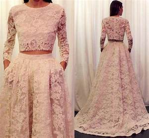 2016 lace wedding dresses long sleeve plus size wedding With two piece long sleeve wedding dress