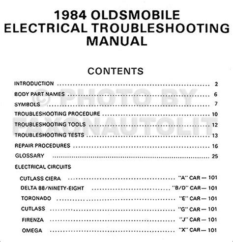 Olds Electrical Troubleshooting Manual Oldsmobile