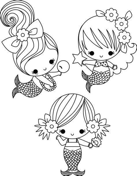 drei kleine meerjungfrauen ausmalbild malvorlage gratis
