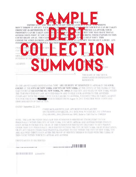 answer  summons  complaint   debt collection