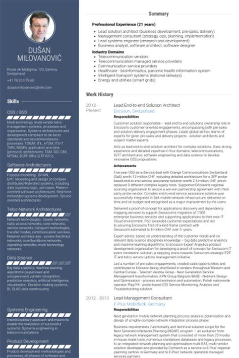 solution architect resume sles visualcv resume