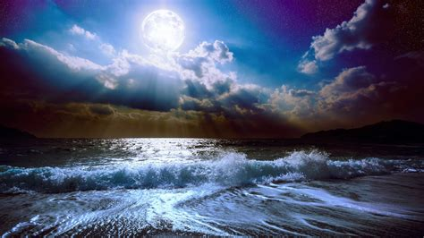 wallpaper sea   wallpaper  moon clouds sky nature