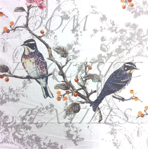 Bird Drapery Fabric - hm121 stunning birds watercolor floral cotton textured