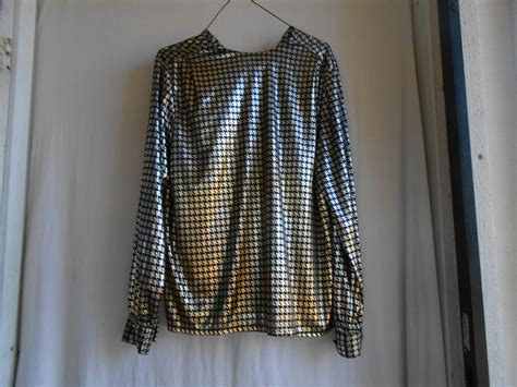 black and gold blouse black and gold metallic shiny blouse 1970s 1980s