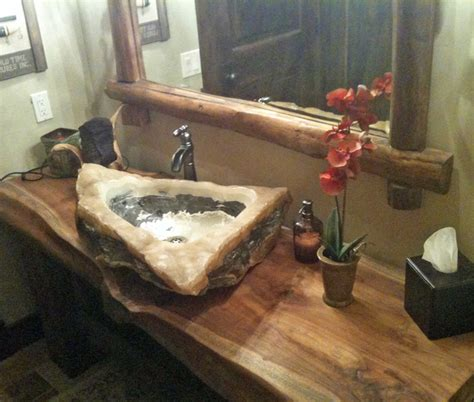 Quartz & Marble Vessel Sink On Reclaimed Monkeypod Wood