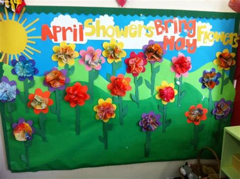 April Through May Bulletin Board. Th Flower Shape And Stem