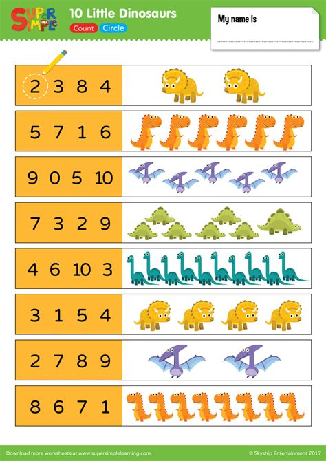 dinosaurs worksheet count circle super simple