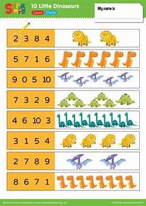 10 dinosaurs worksheet count circle simple