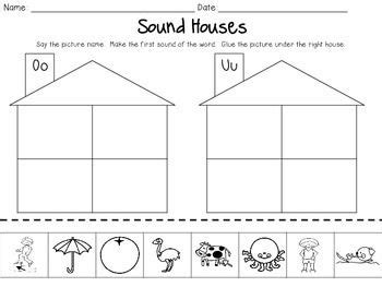 sound houses cut paste beginning sounds sorting