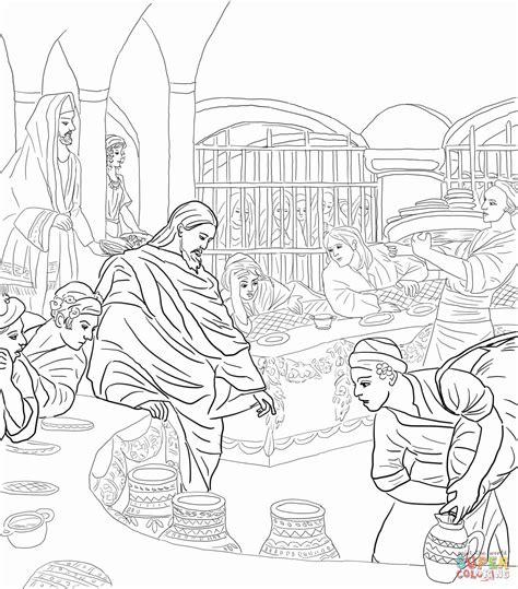 Kleurplaat Bruiloft Te Kana by Eerste Jezus Op De Bruiloft Te Kana Kleurplaat