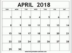 Printable Calendar April 2018 Template Business Idea