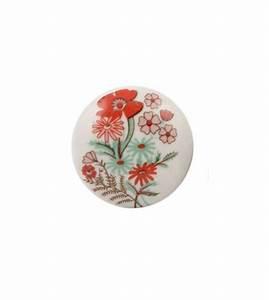 Bouton De Meuble Vintage : bouton de meuble fleur vintage rouge en porcelaine ~ Melissatoandfro.com Idées de Décoration