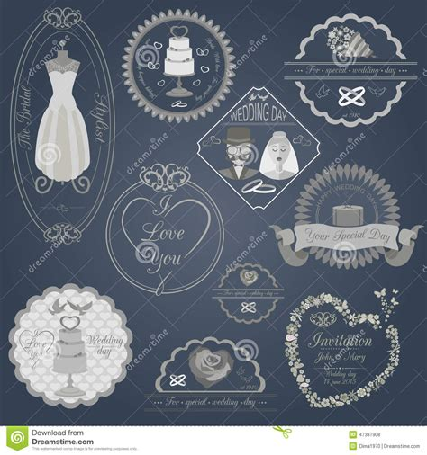 set  vintage wedding  wedding fashion style logos