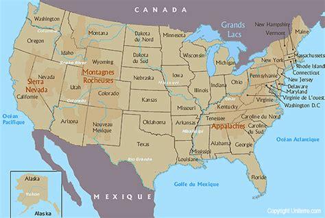 Carte De Avec Villes Fleuves Et Montagnes by Cartograf Fr Les Etats Unis Les Montagnes Et Les Fleuves