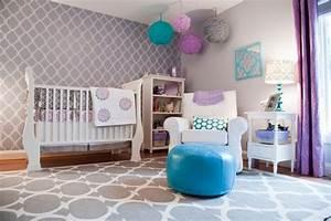 Wand Streichen Muster : wand streichen ideen schablone muster babyzimmer lila weiss tuerkis malerhandwerk ~ Markanthonyermac.com Haus und Dekorationen