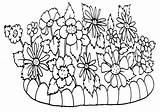 Coloring Flowerbed Bed sketch template