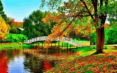 Autumn Fall Country Paradise Bridge Leaves Animated