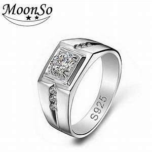 aliexpresscom buy moonso 925 sterling silver rings for With sterling silver wedding rings for men