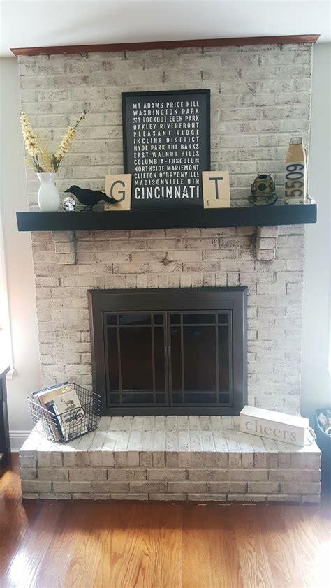 limewashed fireplace
