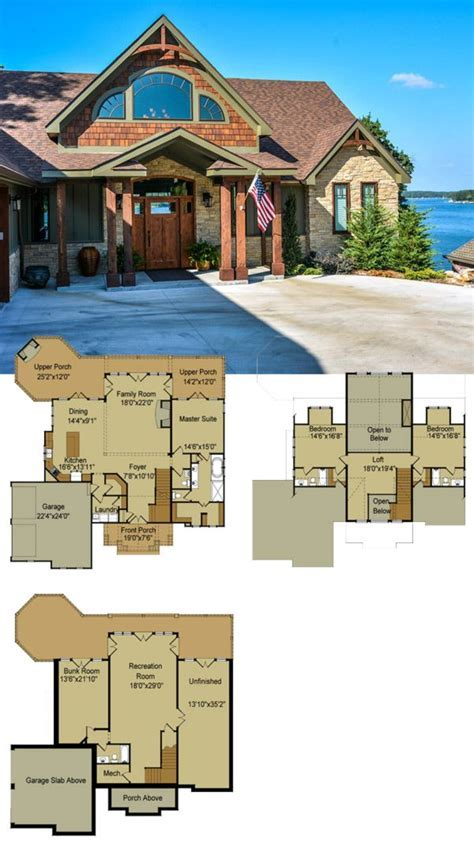 Rustic Mountain House Floor Plan with Walkout Basement