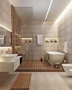 20 modern bathrooms with wall mounted toilets salles de With carrelage adhesif salle de bain avec eclairage led design