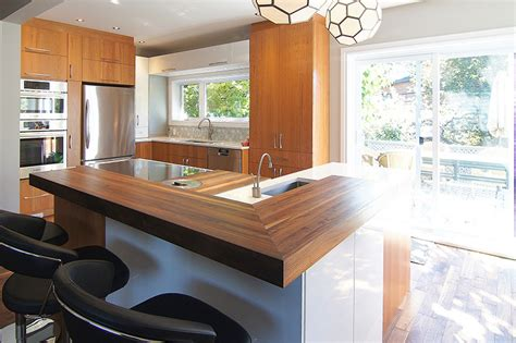 le cuisine design design de cuisine le comptoir de bois ou bloc de