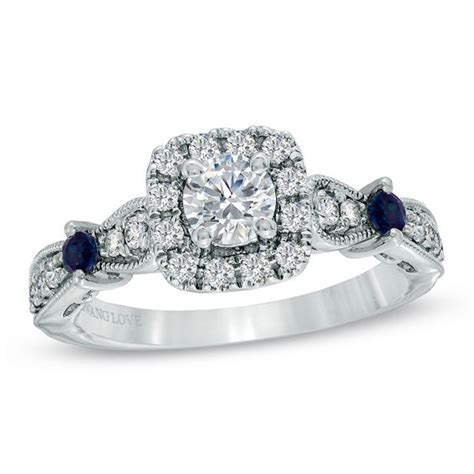 vera wang love collection 3 4 ct t w diamond and blue sapphire vintage style ring in 14k white