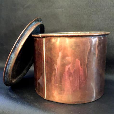 copperware large antique solid copper pot  lid mm  mm  mm  heavy