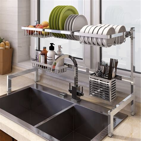 stainless steel kitchen dish rack plate cutlery cup dish drainer sink drying rack