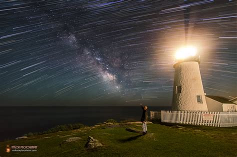 Star Trails Milky Way Shine Over Lighthouse
