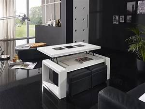 Table De Salon Modulable : table basse relevable blanc laqu brillant design candela ~ Teatrodelosmanantiales.com Idées de Décoration