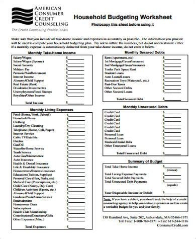 sample household budget worksheet  examples  word