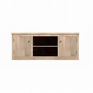 Meuble Tv Chene Massif Moderne : meuble tv avec rangement ch ne massif 150cm aline ~ Teatrodelosmanantiales.com Idées de Décoration