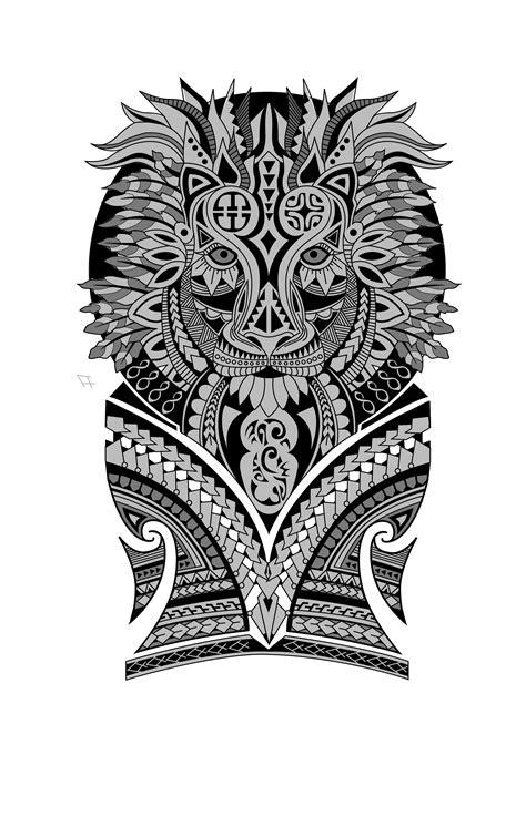 polynesian lion  sleeve tattoo design designer