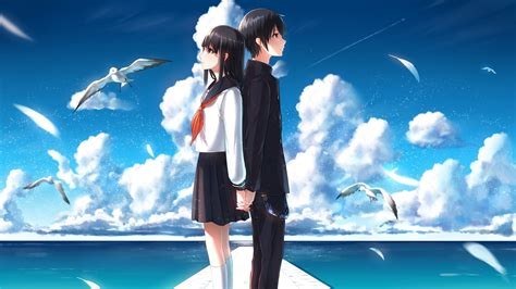 anime action romance happy end full hd wallpaper couple berth cloud romantic desktop