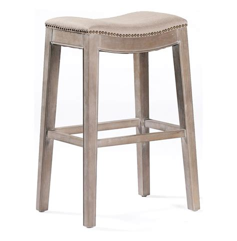 At Home Bar Stools by Pair Country Brass Nail Heads Linen Bar