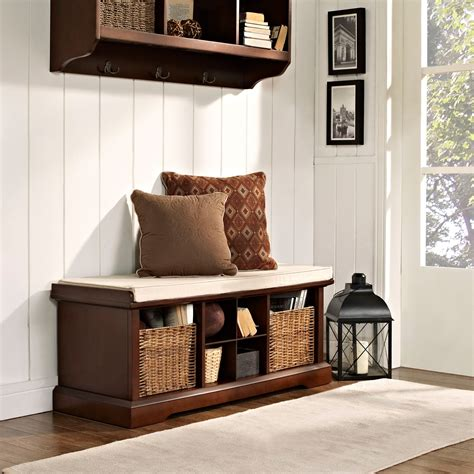 Crosley Brennan Entryway Storage Bench  Mahogany Indoor