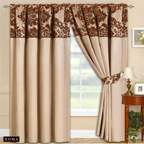 new fully lined ready made top curtains beige with
