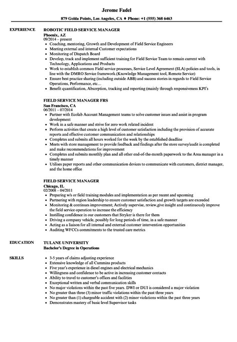 field service manager cover letter flight service manager sle resume custodial worker