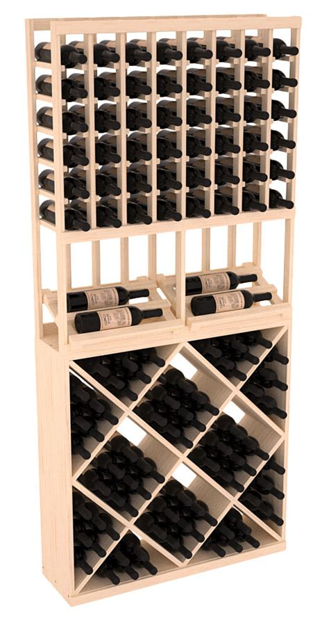 wooden side display diamond cube combo wine cellar rack