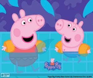 Peppa Pig Goes Swimming Puzzle & Printable Jigsaw