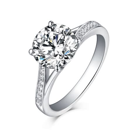 round cut white sapphire 925 sterling silver engagement