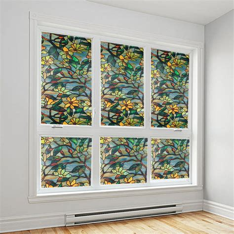 decorative static cling window static cling cover stained flower window glass
