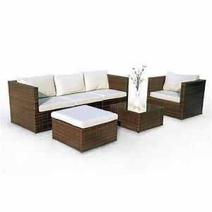 habitat et jardin salon de jardin alu en resine tressee With canapé 2 places résine tressée pas cher