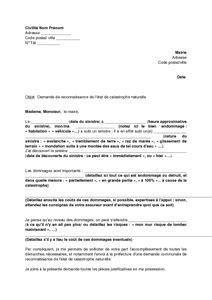 modele lettre declaration sinistre secheresse lettre de demande de reconnaissance d un 233 tat de