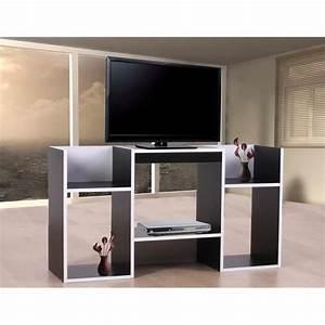 Tv 30 Cm : table tv avec tag res en bois 109 x 59 x 30 cm noir achat vente meuble tv table tv avec ~ Teatrodelosmanantiales.com Idées de Décoration
