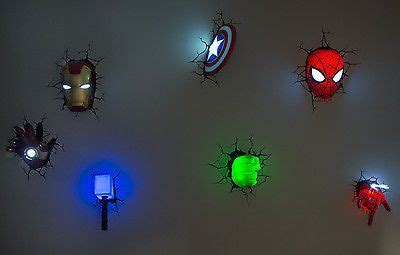 marvel 3d wall art night lights bundle iron man hulk