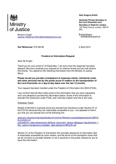 lord chancellors  late reply   foi request