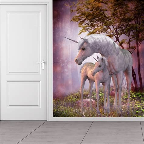 magical unicorn foal wall mural fantasy photo wallpaper