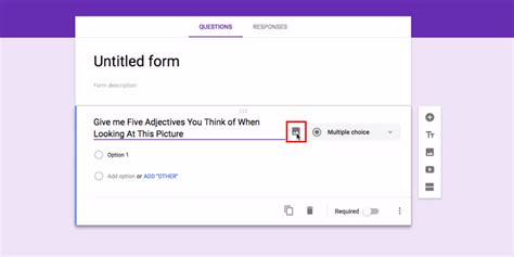 google forms registration add images to questions and answers in google forms
